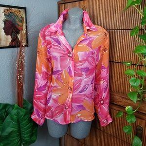 Vintage Blouse Floral Print Pink Size XL